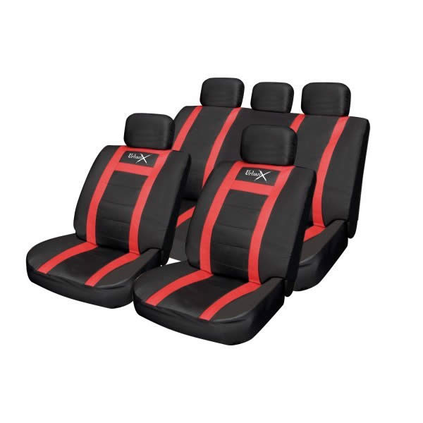 leather universal car seat covers black red. Black Bedroom Furniture Sets. Home Design Ideas